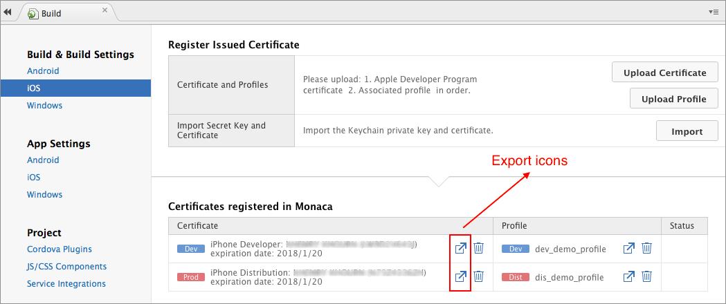 Build Settings between Monaca and Xcode | Monaca Docs