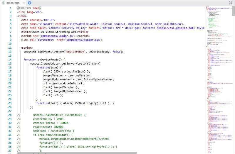 Features in the Monaca Cloud IDE   Monaca Docs