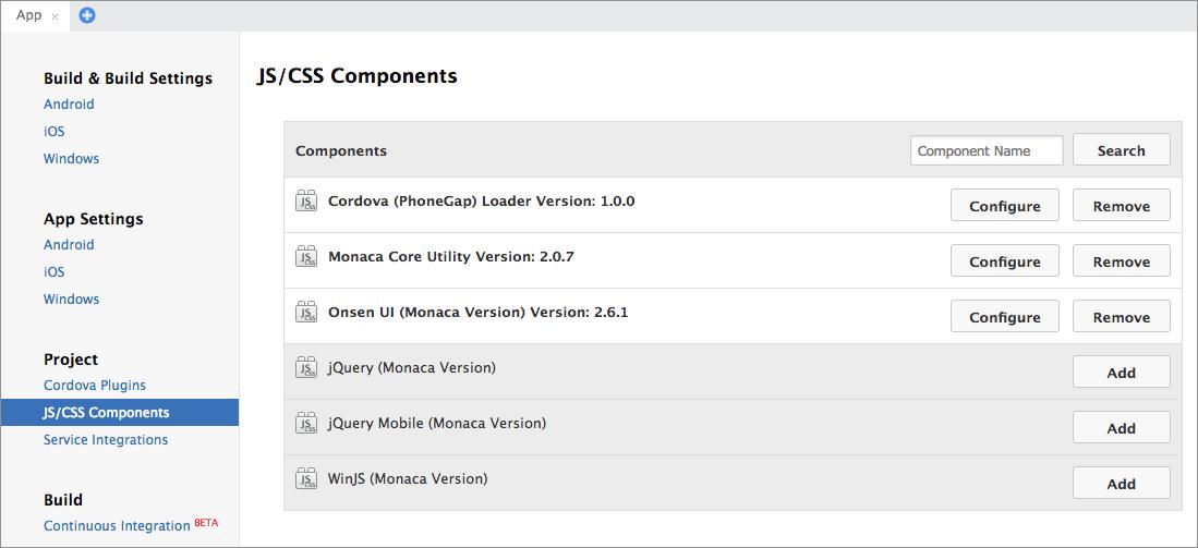 JS/CSS Components | Monaca Docs