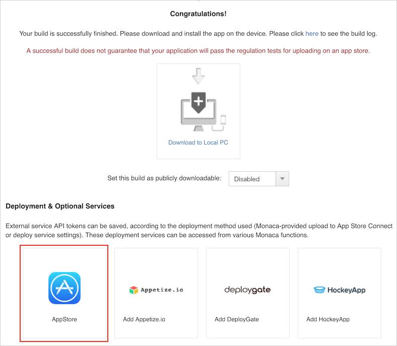 iOS App Upload Feature | Monaca Docs