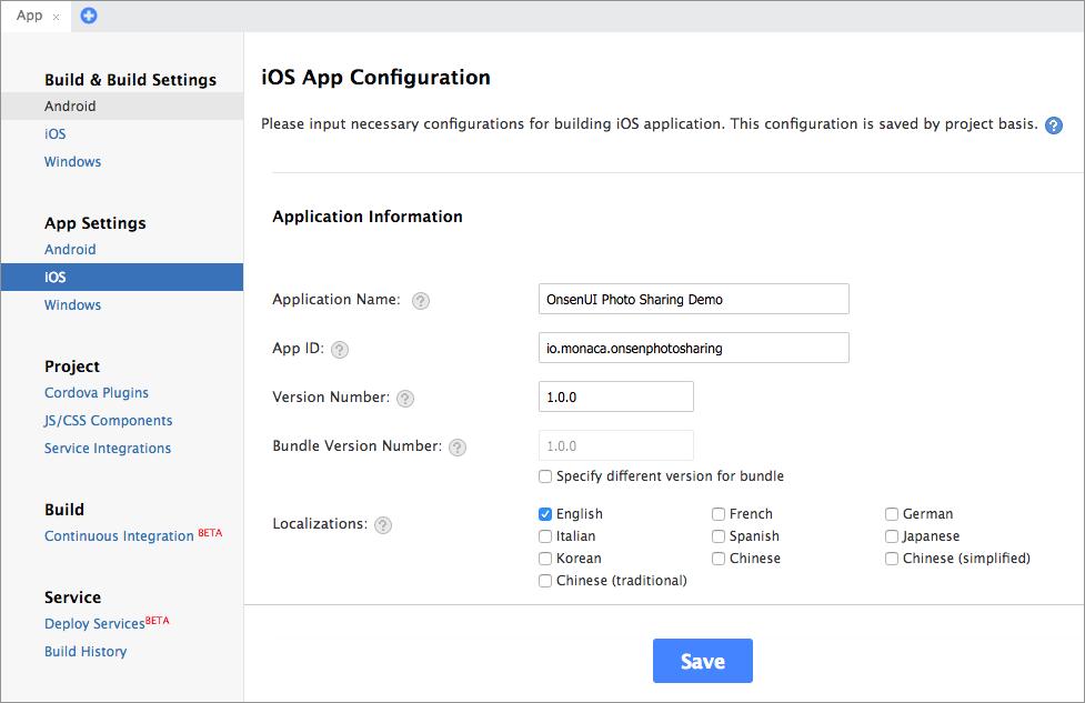 iOS Configuration | Monaca Docs